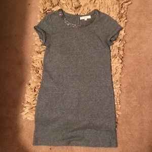 Gray loft XS tshirt dress sequin neckline